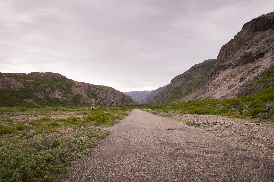 Tarmac road leading through the Hospital Valley on the Narsarsuaq Glacier hike in South Greenland