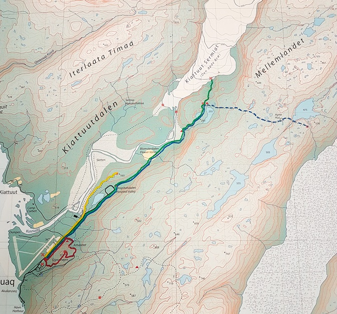 Map on the wall in the hostel showing the different hiking routes near Narsarsuaq, South Greenland