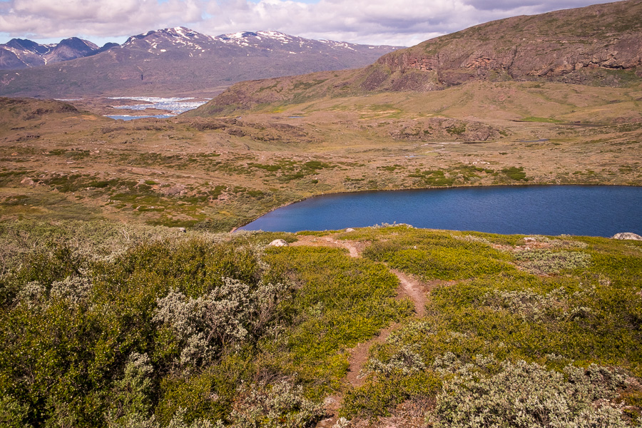 A trail on the Sillisit to Qassiarsuk via Nunataaq hiking route in South Greenland