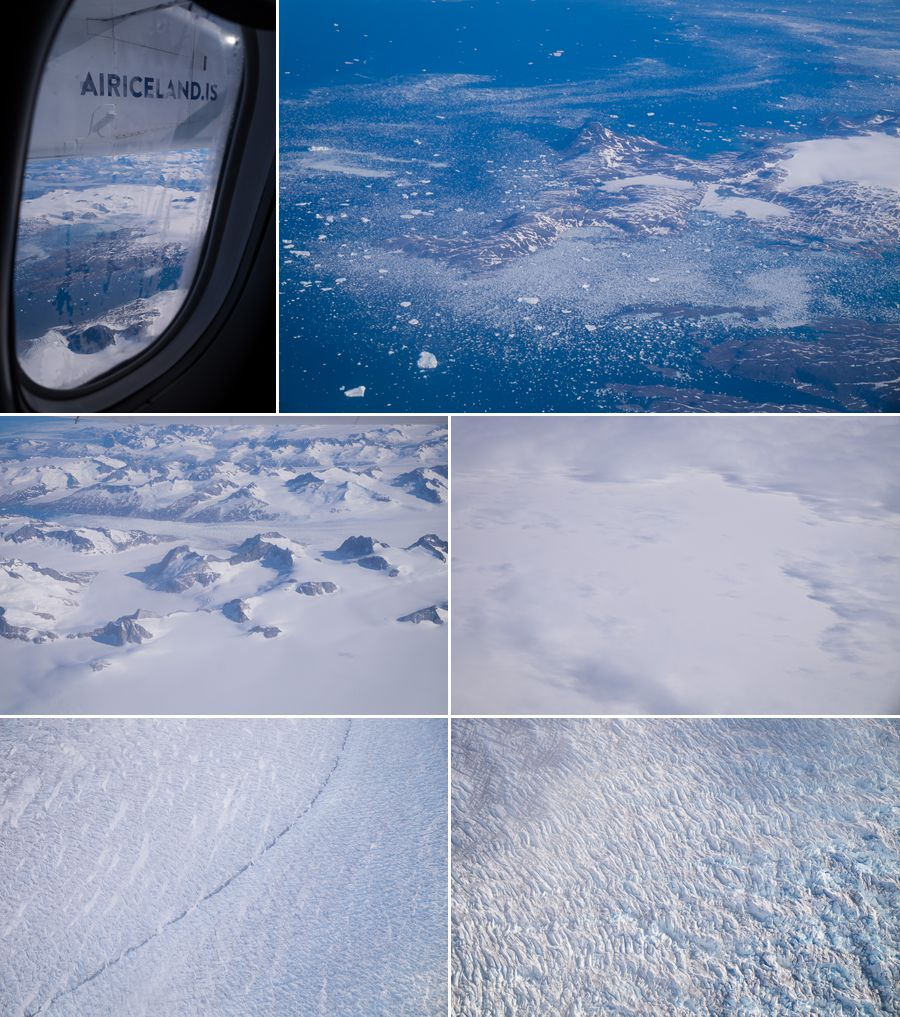 Views flying from Iceland to South Greenland