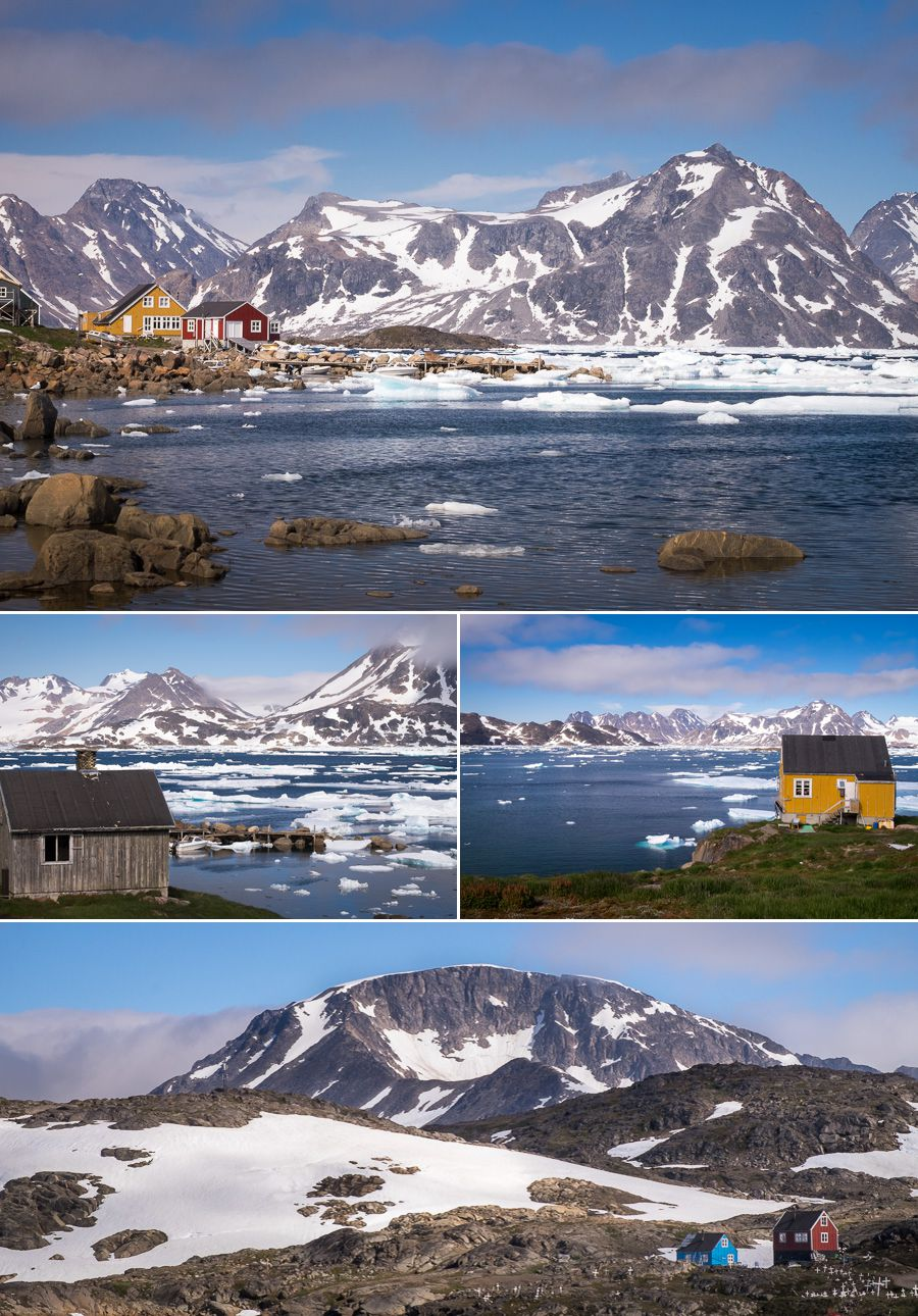Views of the colorful houses of Kulusuk and the fjord - East Greenland