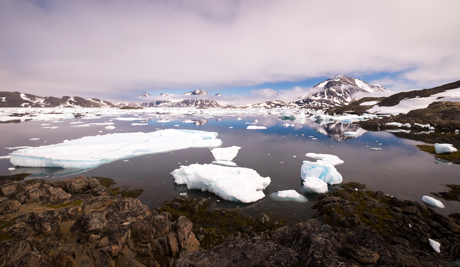 Ice floes in the fjord in front of Kulusuk, East Greenland