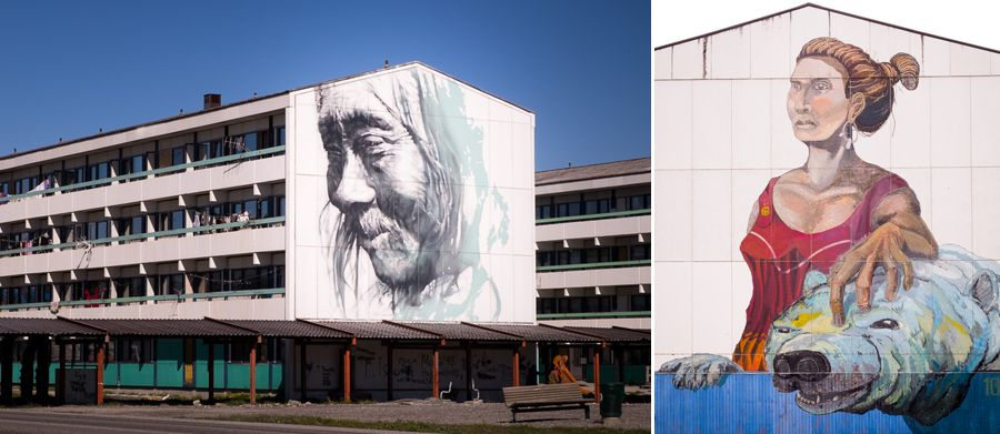 Large murals painted on the sides of 4 story apartment buildings in downtown Nuuk, Greenland