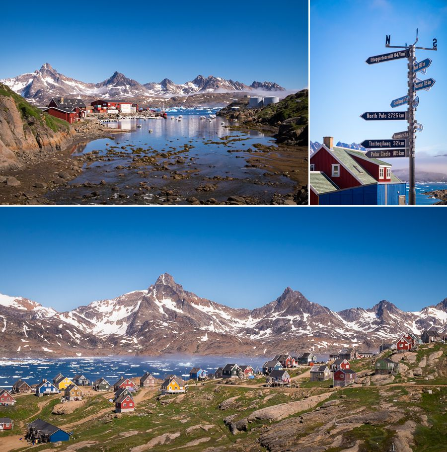 Views of different parts of Tasiilaq in East Greenland