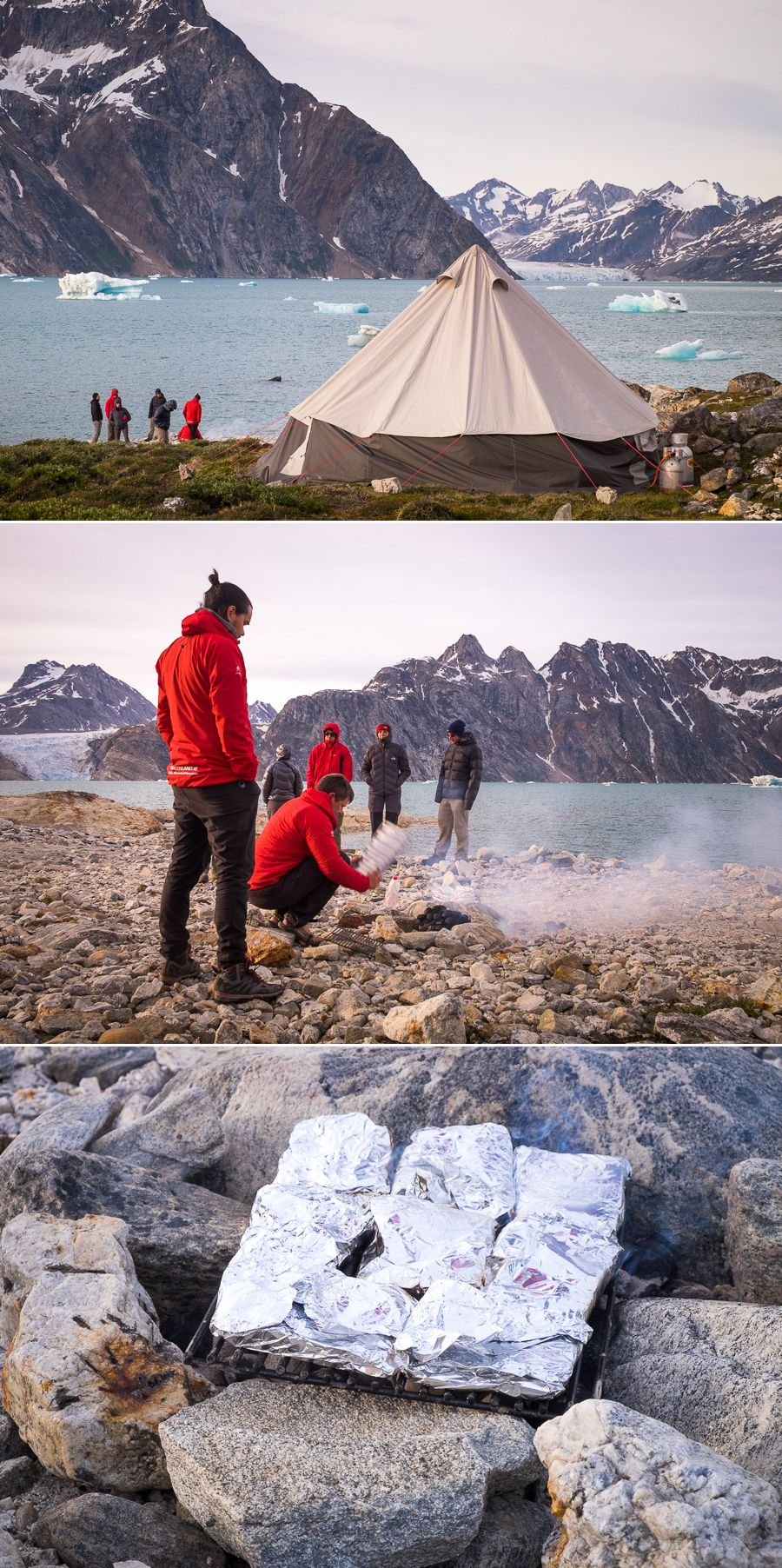 Cooking dinner on the shore of the Karale fjord at our first campsite on the Unplugged Wilderness Trek