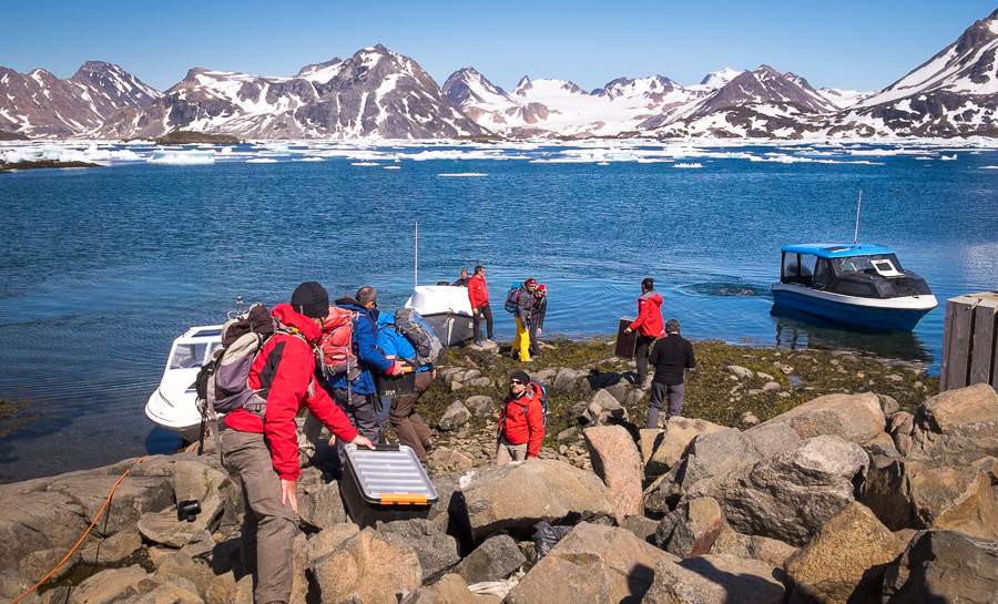 Loading the speedboats in Kulusuk Harbour at the start of the Unplugged Wilderness Trek in East Greenland