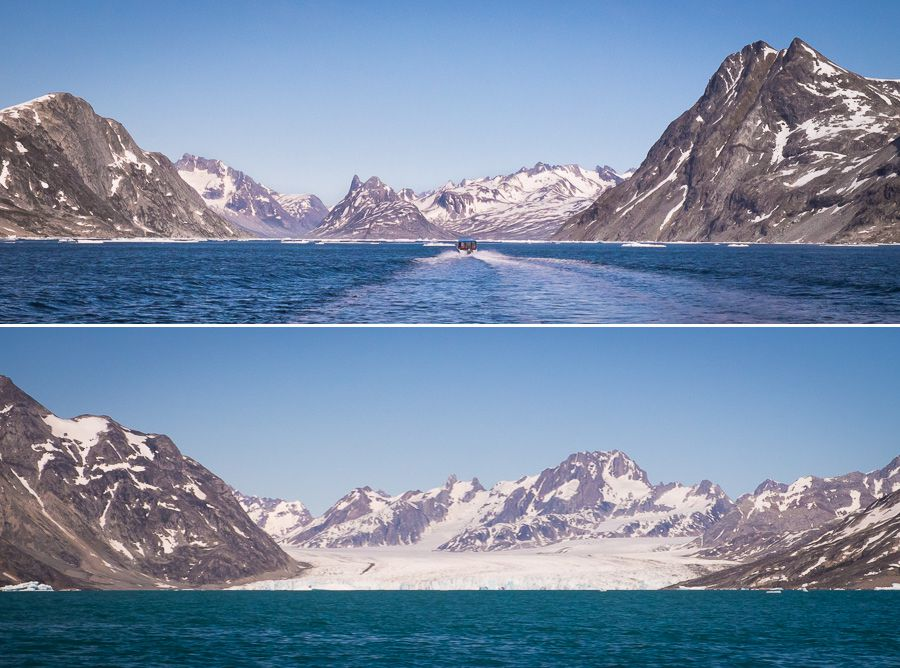 Views of mountains and glaciers in the Sermiligaaq Fjord as we approach our first campsite for the Unplugged Wilderness Trek