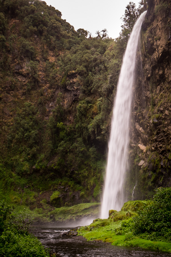 The Cascada Condor Machay itself as seen from the hiking trail. Near Quito, Ecuador