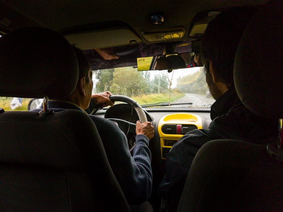 Inside the taxi to Cascada Condor Machay from Selva Alegre, near Quito, Ecuador