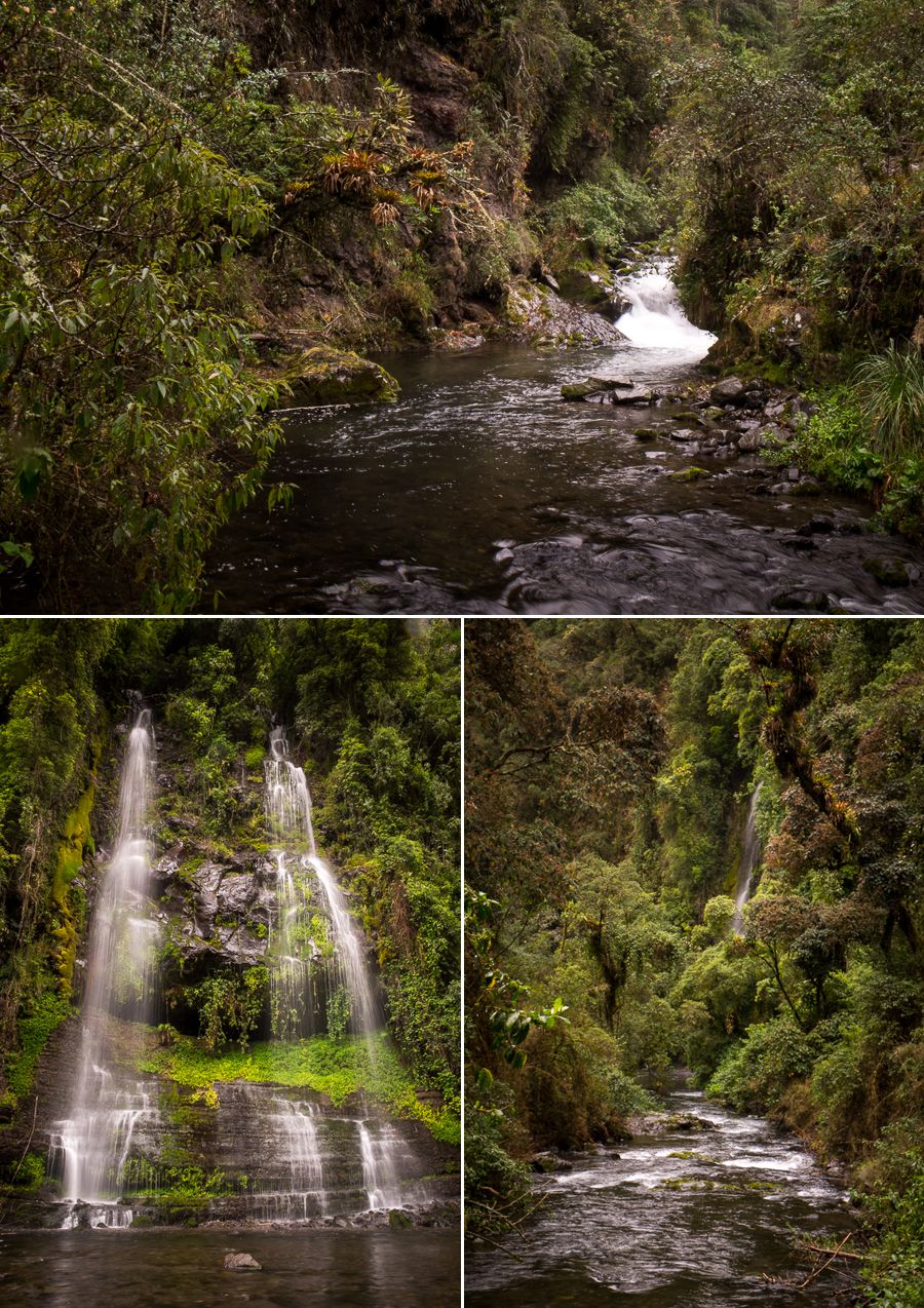 Smaller waterfalls on the hike to Cascada Condor Machay near Quito, Ecuador