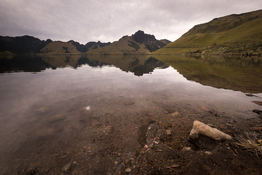 One of the Mojanda lakes - Laguna Caricocha under very grey skies. At the start of the hike to the summit of Fuya Fuya near Otavalo, Ecuador
