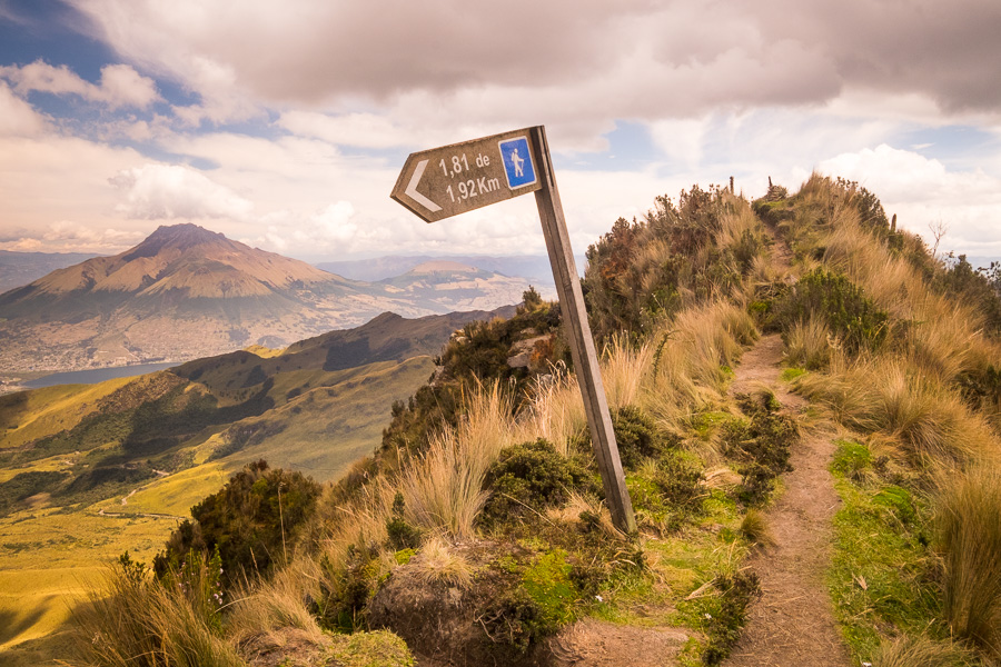 The only trail sign I saw on the hike up Fuya Fuya near Otavalo, Ecuador