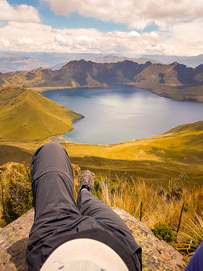Me relaxing on a large flat rock at the summit of Fuya Fuya near Otavalo, Ecuador