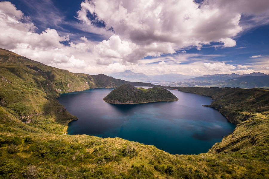 Wide view of Teodoro Wolf Island in Laguna Cuicocha while hiking the crater rim near Otavalo, Ecuador