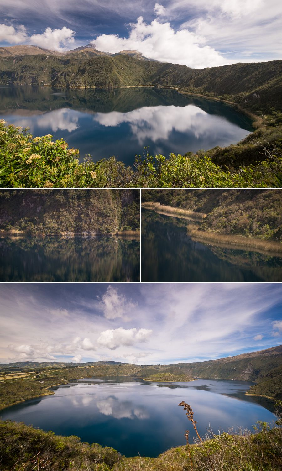 Almost perfect reflections in Laguna Cuicocha as seen while hiking the crater rim near Otavalo, Ecuador