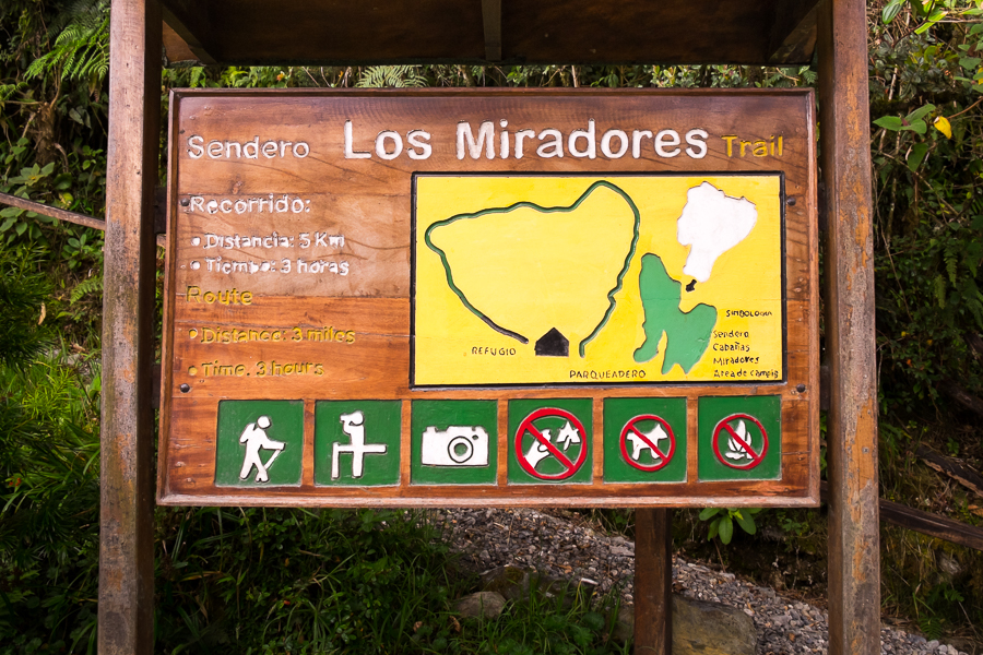 The sign at the start of Los Miradores hike in the Podocarpus National Park near Loja, Ecuador