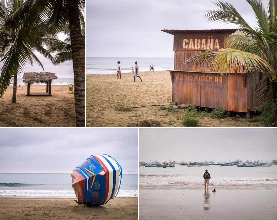 beach huts and fishing boats along the beach in Puerto Lopez - Ecuador
