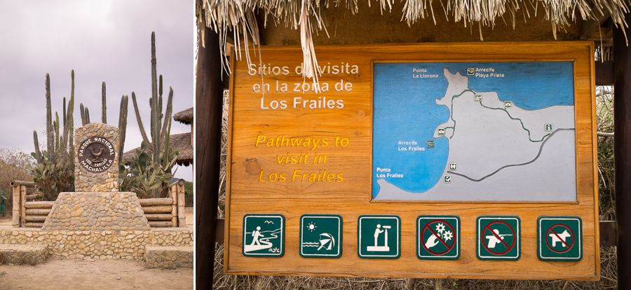 Signs at the start of the hike to Los Frailles beach near Puerto Lopez - Ecuador