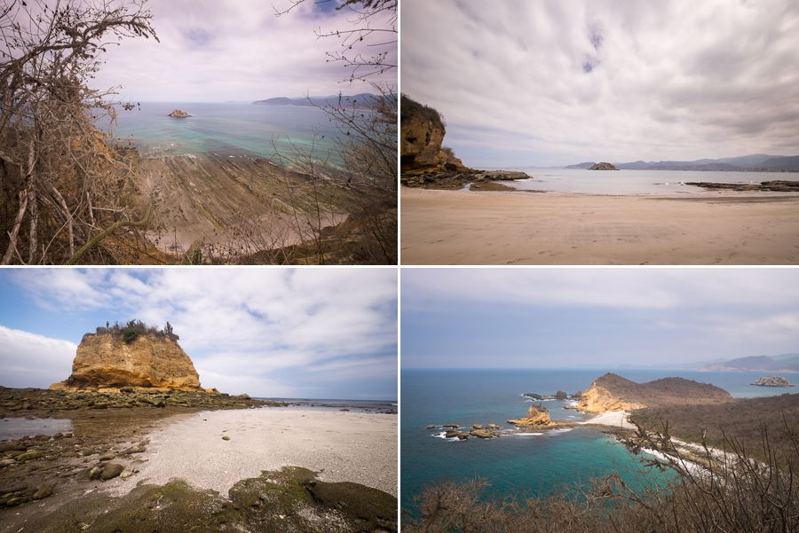 Different views along the hike to Los Frailles beach, including some smaller beaches you can visit