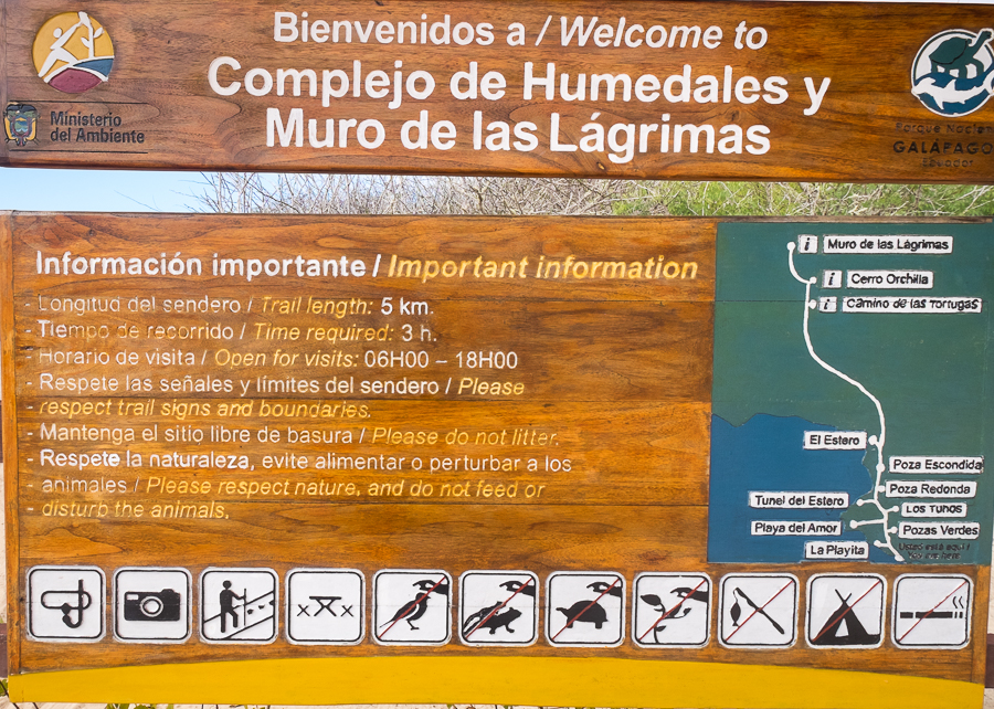 Sign explaining the Muro de las Lagrimas complex and route