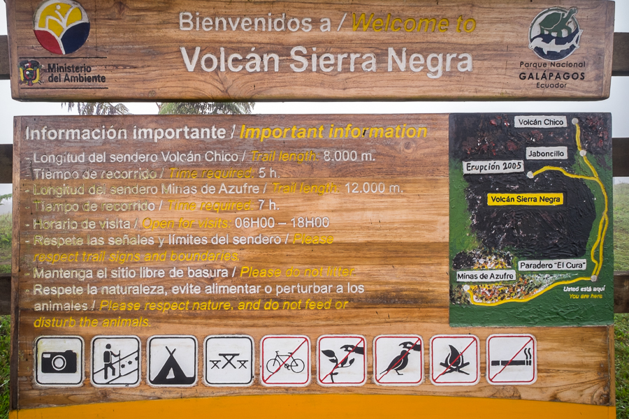 Sign at the start of the Sierra Negra trail - Galapagos