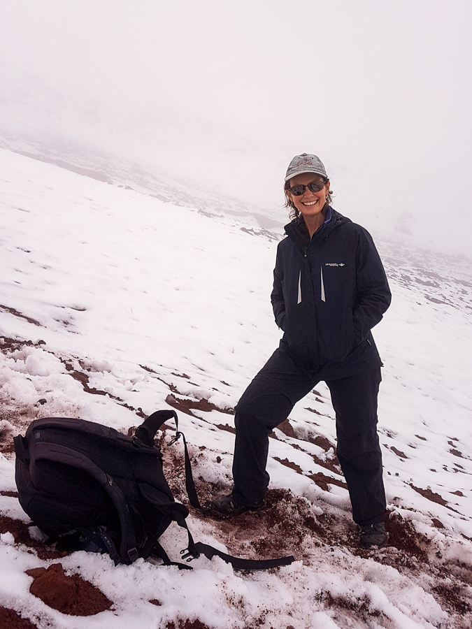 Me posing at the edge of the Cotopaxi Glacier in Ecuador