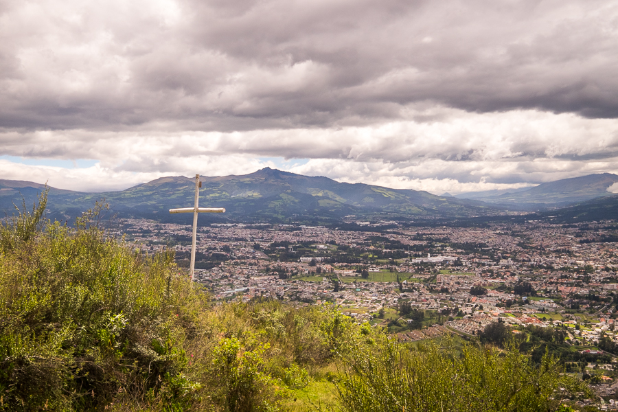 Cross overlooking the outskirts of Quito on the trail up A less-steep part of the trail up Volcán Ilaló