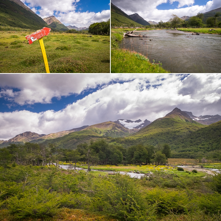 The green valley at the start of the trail to Laguna Encantada near Ushuaia, Argentina