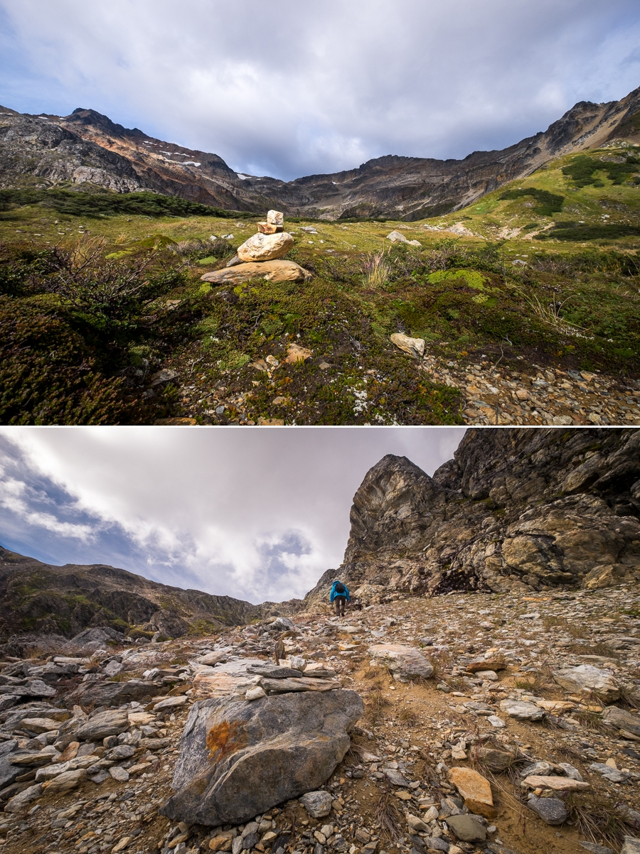 Stone Cairns marking the trail Laguna Bélgica - Ushuaia - Argentina