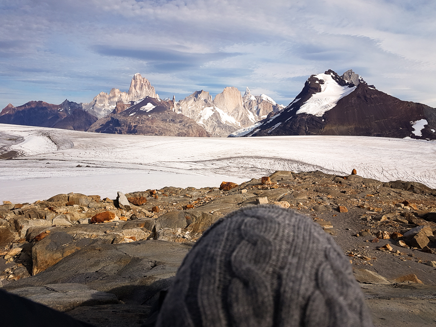 Admiring the view - South Patagonia Icefield, Cerro Fitzroy and Cerro Torre from the Refugio Garcia Soto