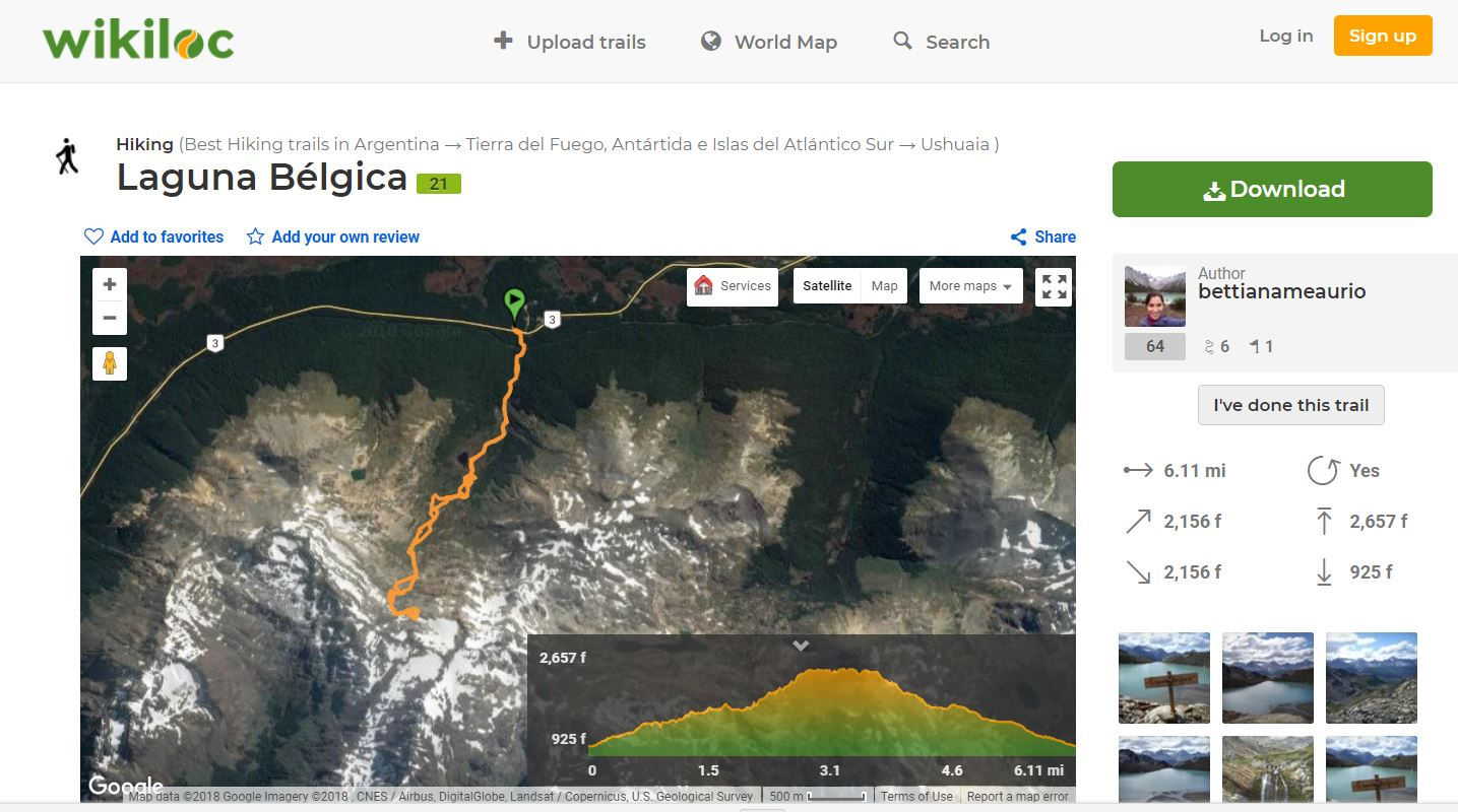 Wikiloc map for the trail to Valle de Olum and Laguna Bélgica - Ushuaia - Argentina