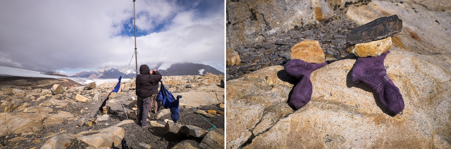 Drying clothes at Refugio Garcia Soto - South Patagonia Icefield Expedition - Argentina