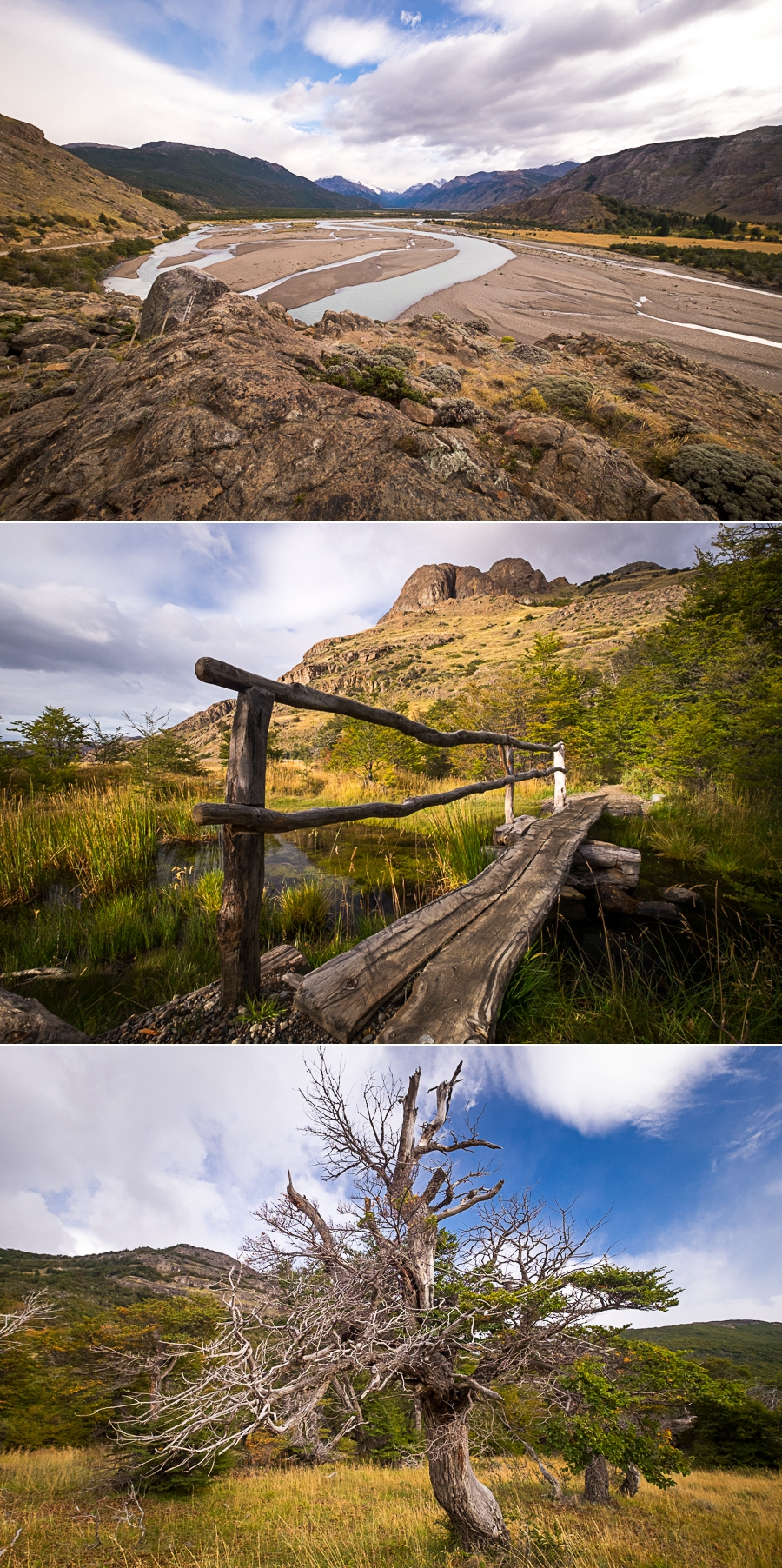 Various views from the trail to the Chorillo del Salto - El Chaltén - Argentina