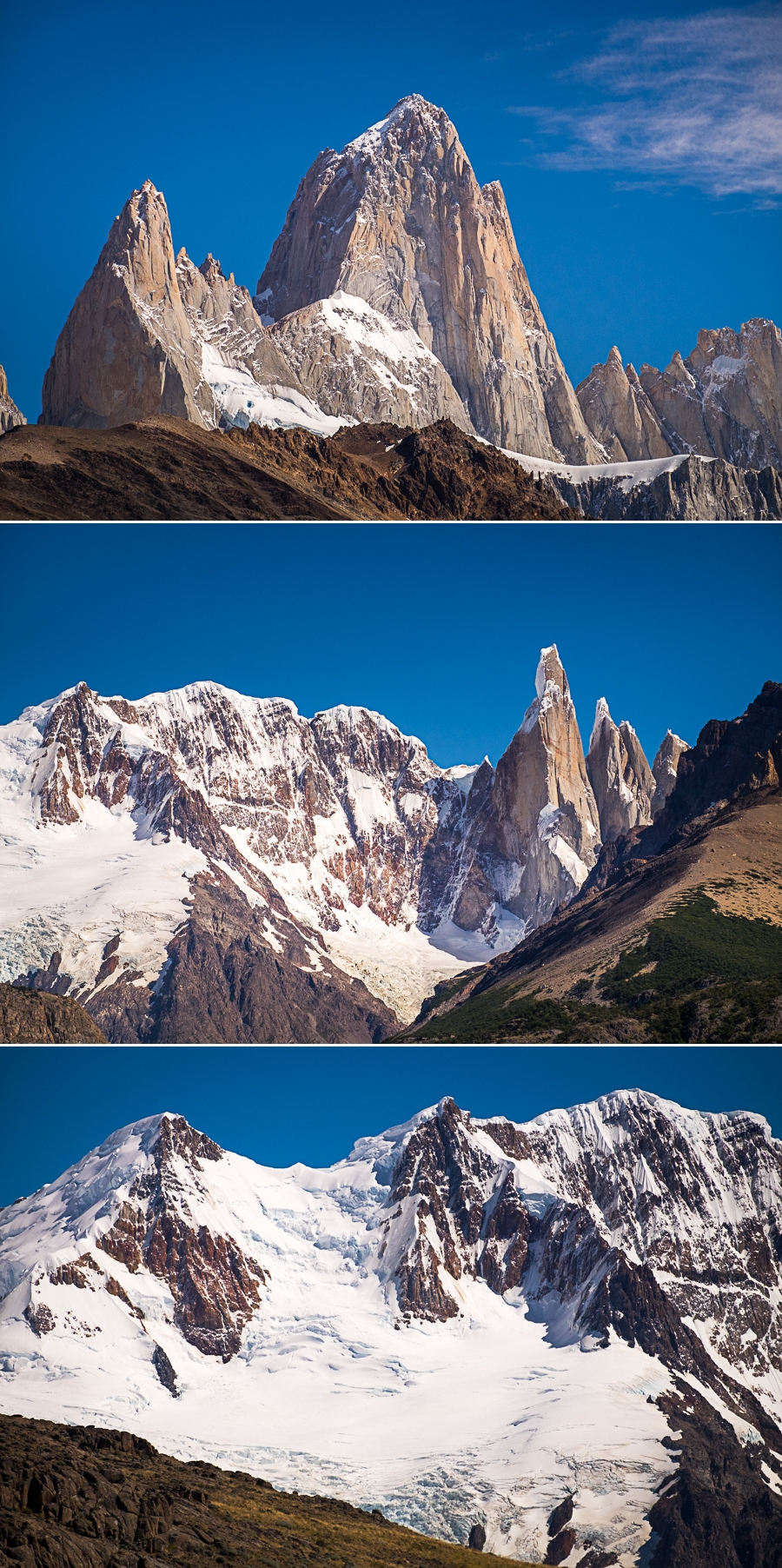 Closeup views of Cerro Fitz Roy and Cerro Torre from the Mirador de los Cóndores - El Chaltén - Argentina