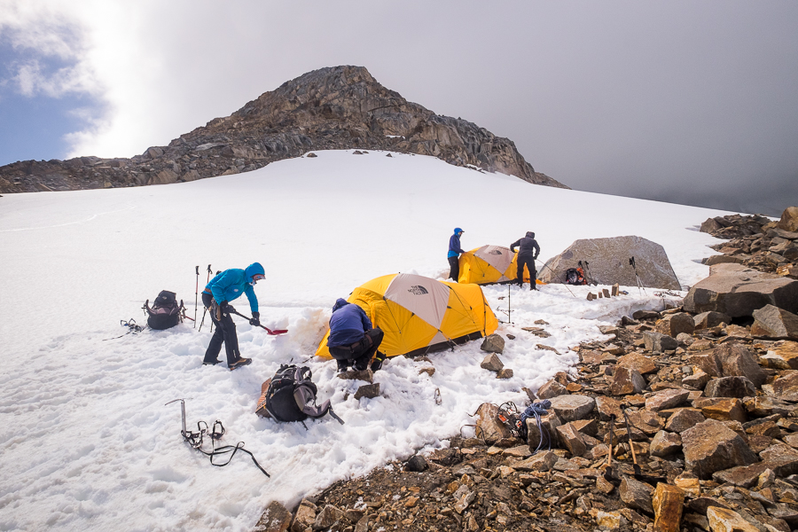 Setting up camp at Circo de los Altares - South Patagonia Icefield Expedition - Argentina