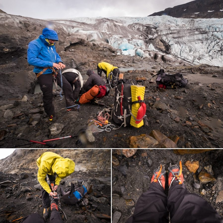 Affixing crampons - - South Patagonia Icefield Expedition - Argentina
