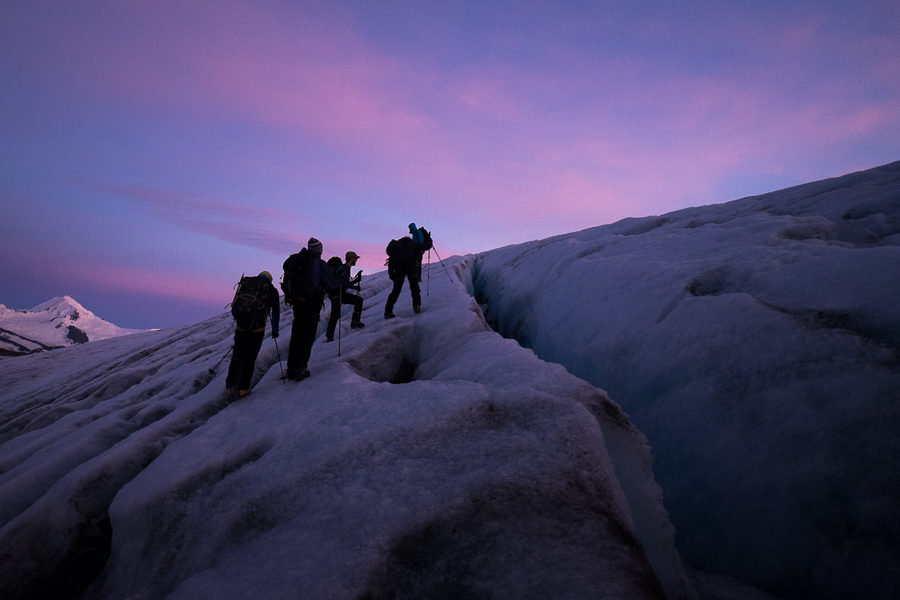 Negotiating the crevasse-field in the pre-dawn light - Gorra Blanca - South Patagonia Icefield Expedition - Argentina