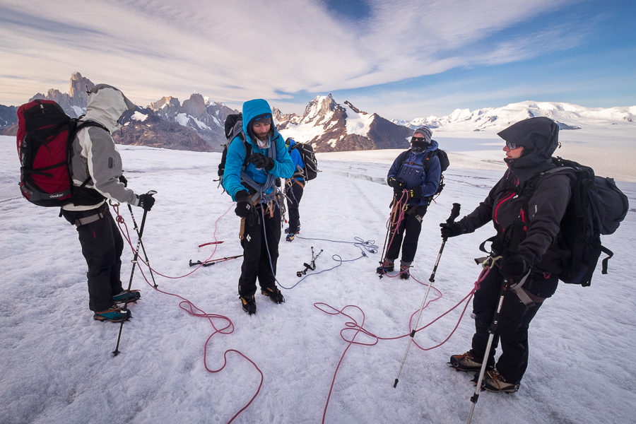 Juan instructing group on how to walk while roped - Gorra Blanca - South Patagonia Icefield Expedition - Argentina