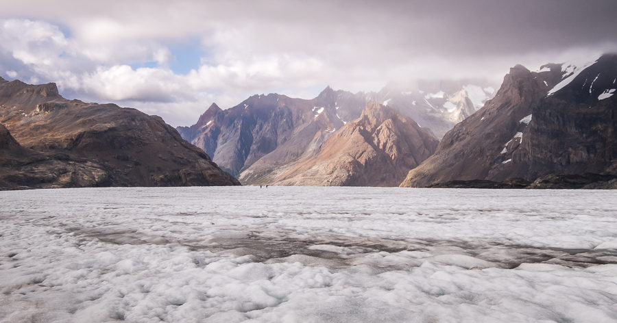 Looking back across the flat icefield towards where we'd come from - South Patagonia Icefield Expedition - Argentina
