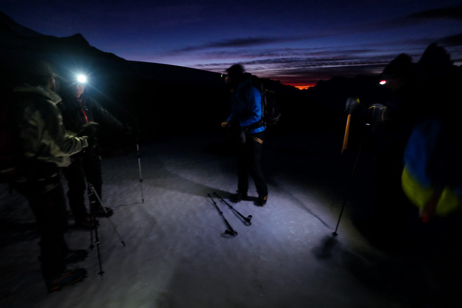 On the ice before dawn - Gorra Blanca ascent - South Patagonia Icefield Expedition - Argentina