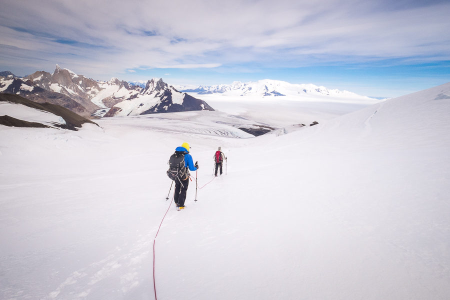 Hiking while roped - Gorra Blanca - South Patagonia Icefield Expedition - Argentina