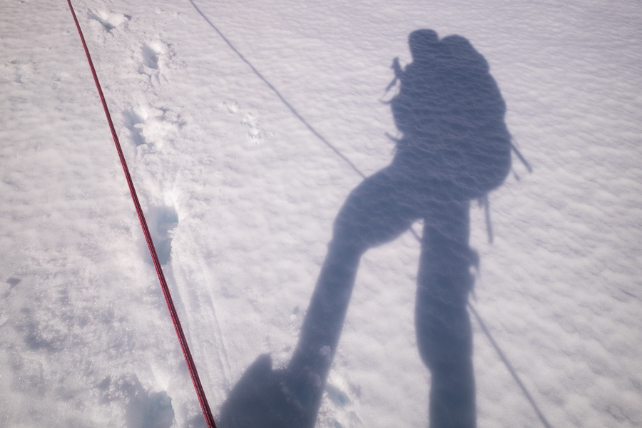 My shadow and the rope - South Patagonia Icefield Expedition - Argentina