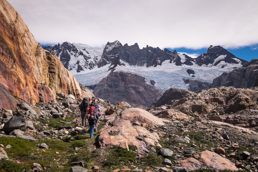 Trekking companions ascending towards Lago 14 - South Patagonia Icefield - Argentina