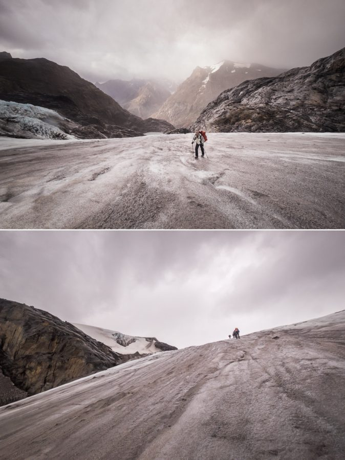 The view behind (top) and in front (bottom) as we climbed the glacier - South Patagonia Icefield Expedition - Argentina