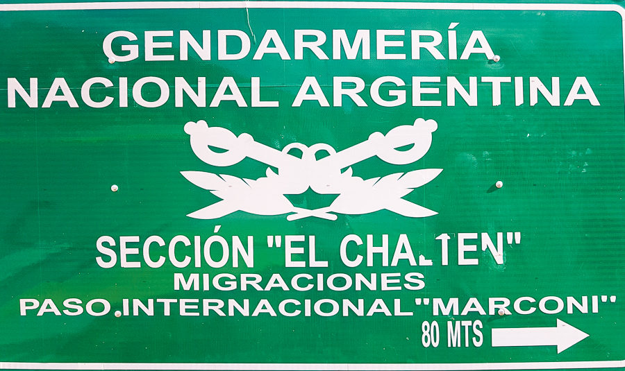Sign to the police station in El Chalten