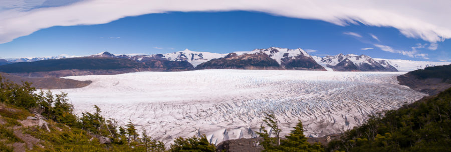 Looking down on the Grey Glacier and the South Patagonia Icecap from John Garner Pass on the Torres del Paine Circuit Trek