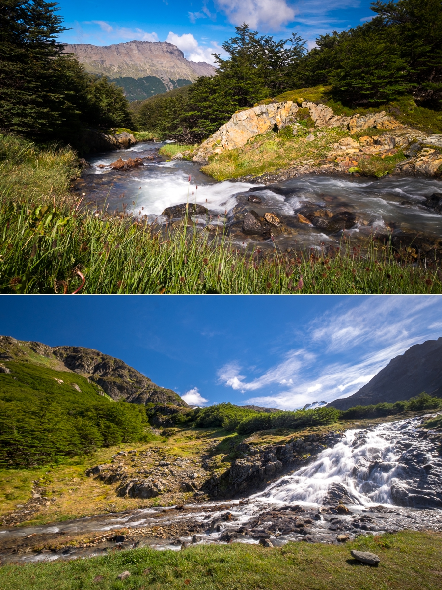 Green clearing, stream and waterfall on the way to Laguna de los Témpanos and Vinciguerra Glacier - Ushuaia - Argentina