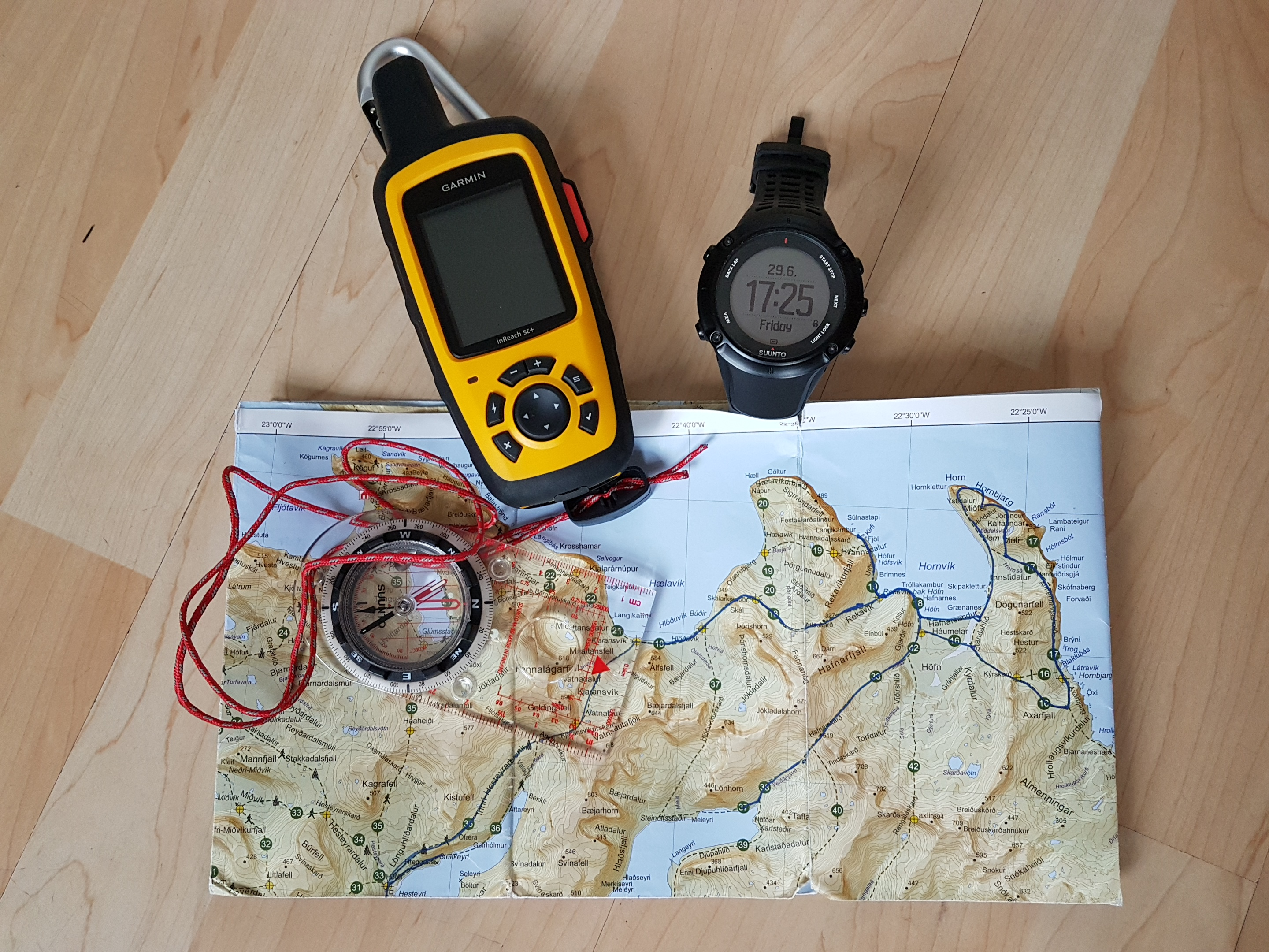 Navigation aids - Garmin InReach SE+, Suunto Ambit3 Peak watch, map and Suunto M3 compass