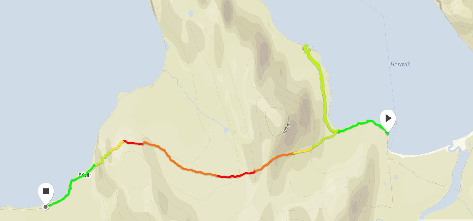 Basic map of the route I took from Hornvik to Hloduvik from Movescount