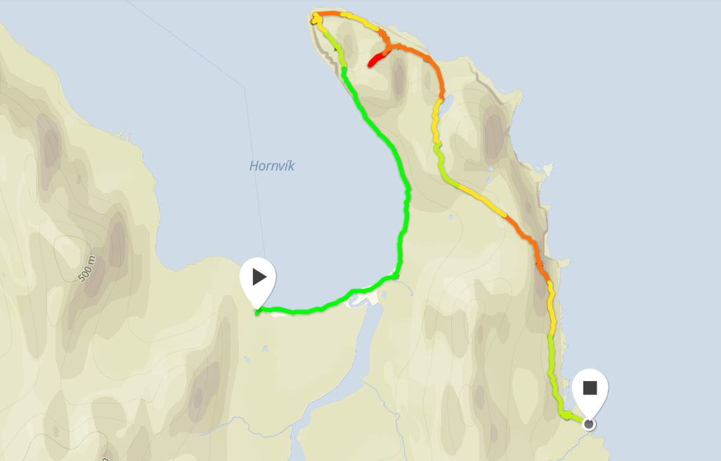 Basic map of the route I took to explore The Horn in Hornstrandir from Movescount